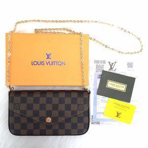 %100 Genuine Leather Louis Vuitton Felicie Clutch